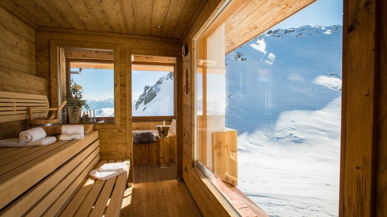 Sauna avec vue sur le chalet Wedelhütte, © Wedelhütte/Becknafoto