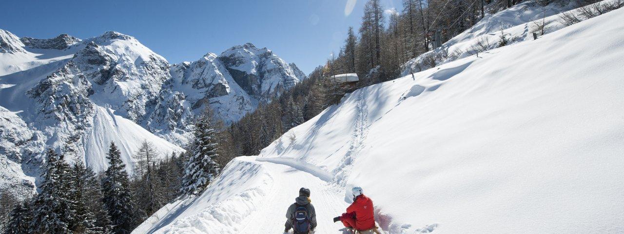 Plaisir exquis de la luge dans la vallée de Stubaital, © TVB Stubai Tirol / Andre Schönherr